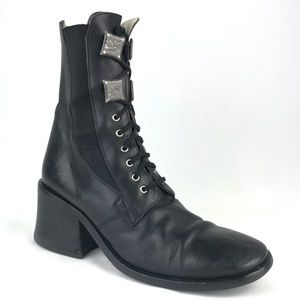 Andrea Black Leather Combat Boots Military Bootie
